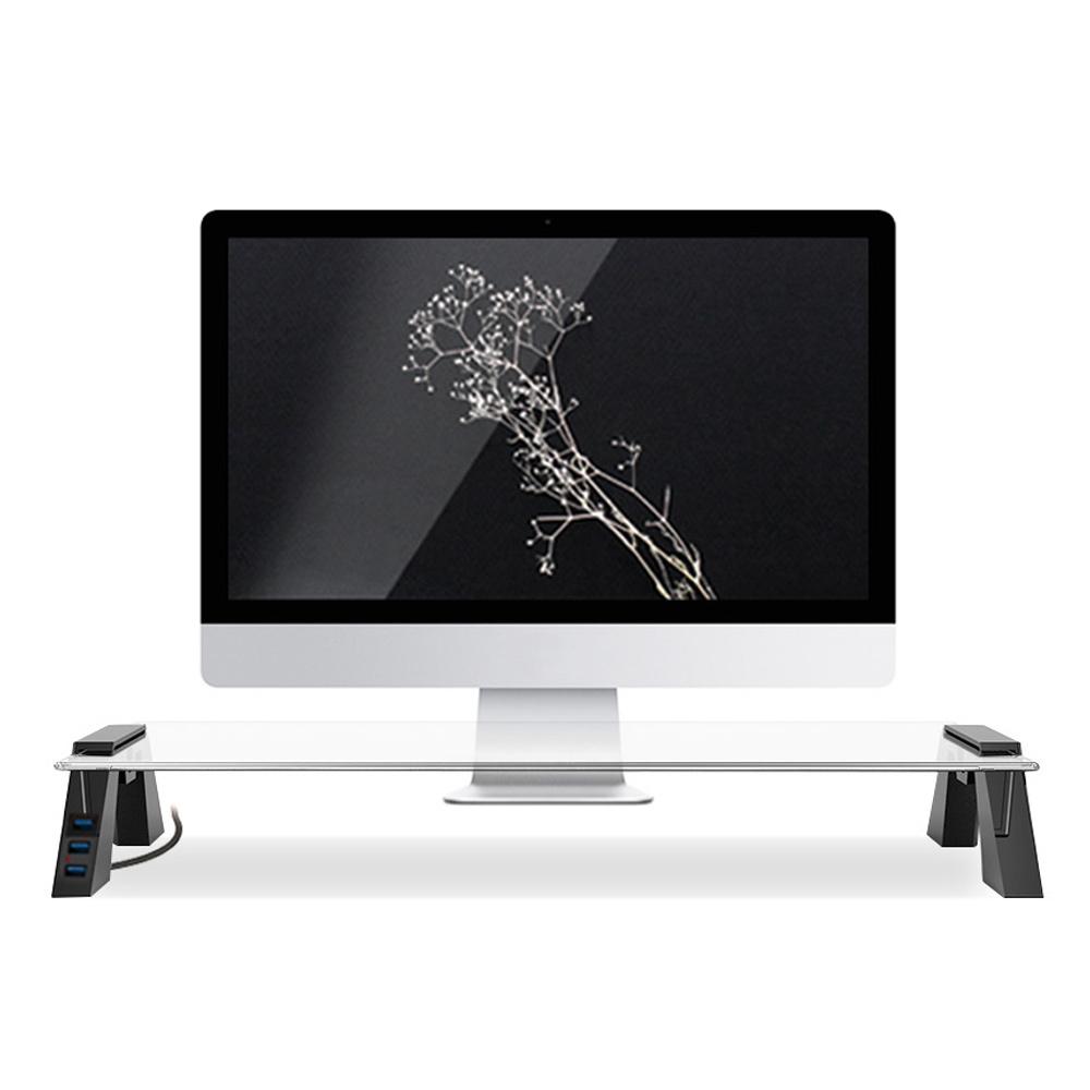 천하지엘씨 스마트독브릿지 컴팩트 모니터 받침대 USB 3.0, 블랙 + 투명유리, 1개