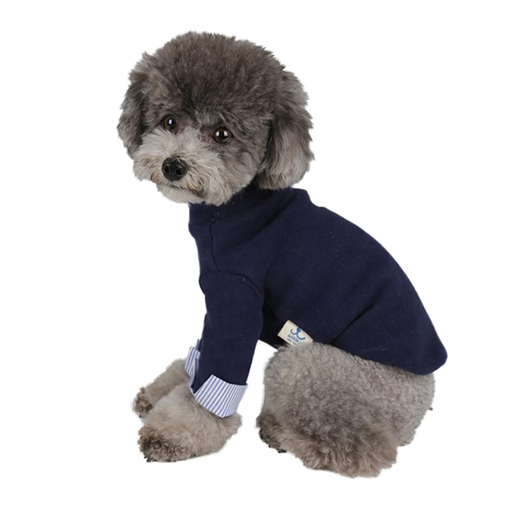 윙키뉴욕 강아지옷 커프스 T, 네이비