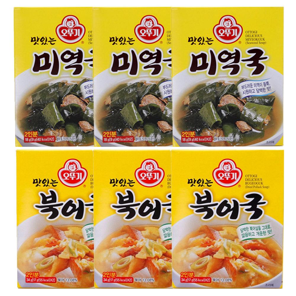 오뚜기 맛있는 즉석 미역국 18g x 3p + 맛있는 즉석 북어국 34g x 3p, 1세트
