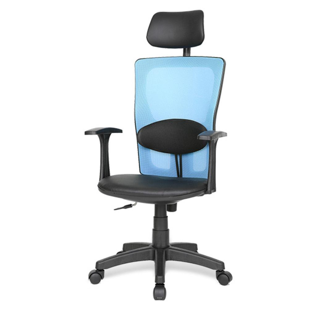 체어포커스 아이백 DI 대요추 헤더형 의자 메쉬, 블루