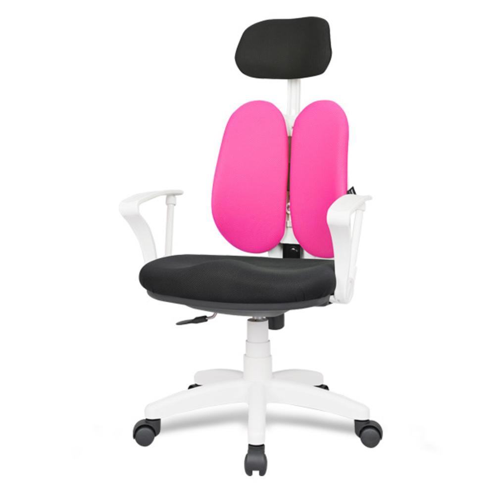 체어포커스 엔젤 화이트 BW 고급 헤더형 메쉬 의자, 핑크