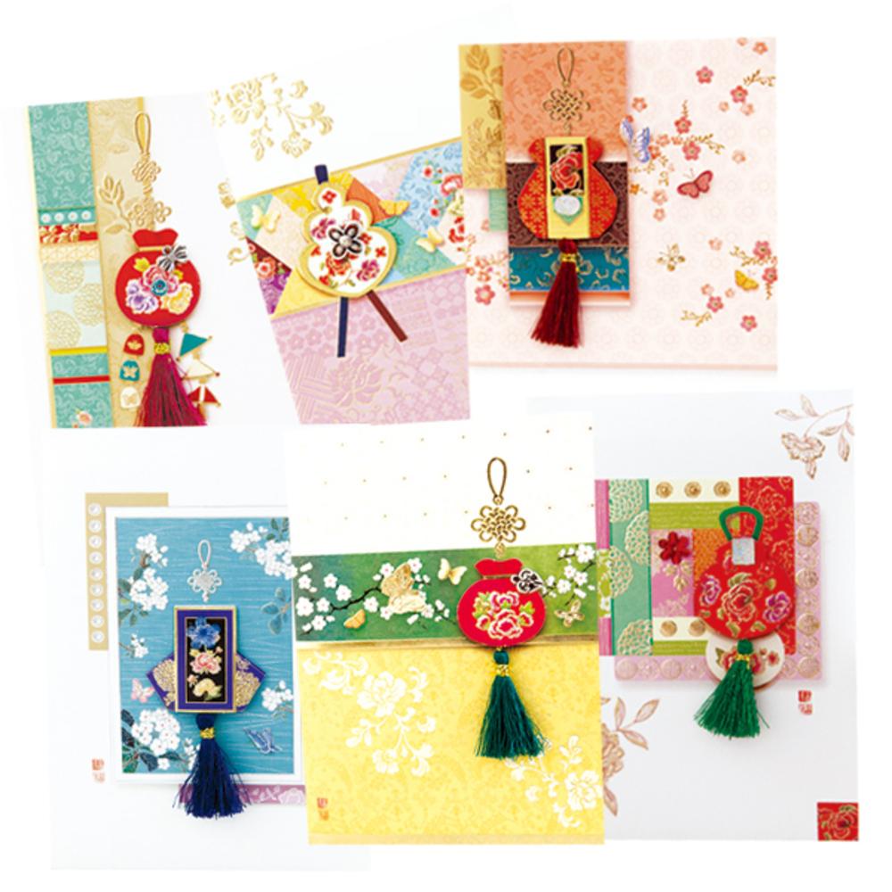 프롬앤투 복주머니 6종 카드 세트 ft223, 혼합 색상, 1세트
