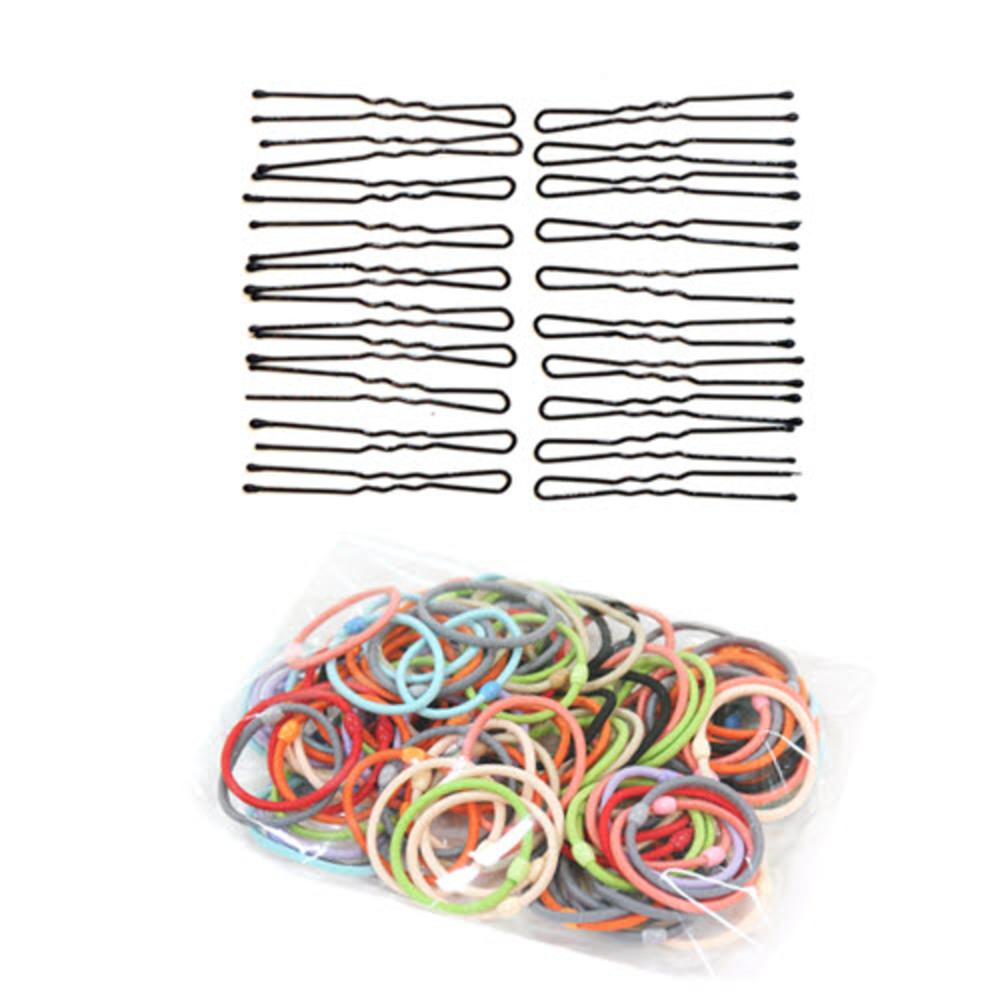 루머스 U핀 HU021 + 머리끈 HU072 100p 랜덤 발송, 단일 색상, 1세트