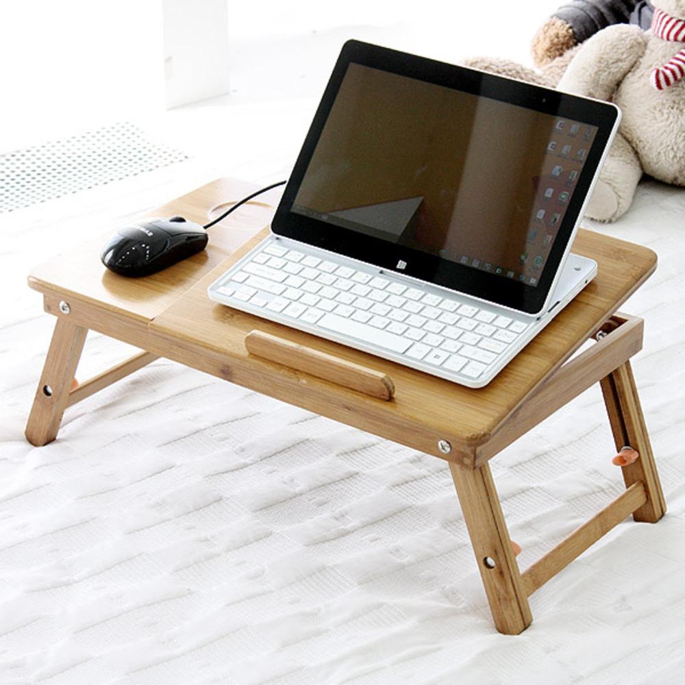 플러스리빙 대나무 노트북 테이블, 단일 색상