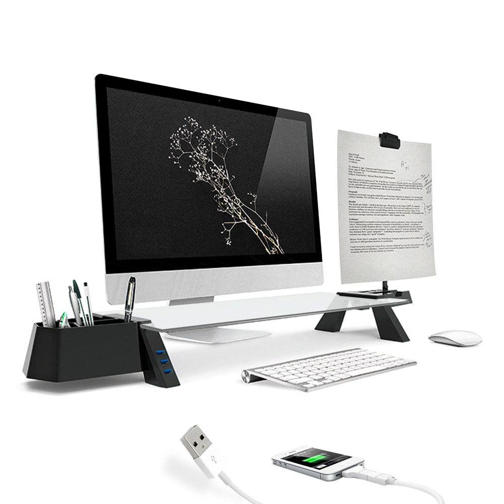 천하지엘씨 스마트독 브릿지 USB3.0 모니터 받침대, 블랙 + 투명, 1개