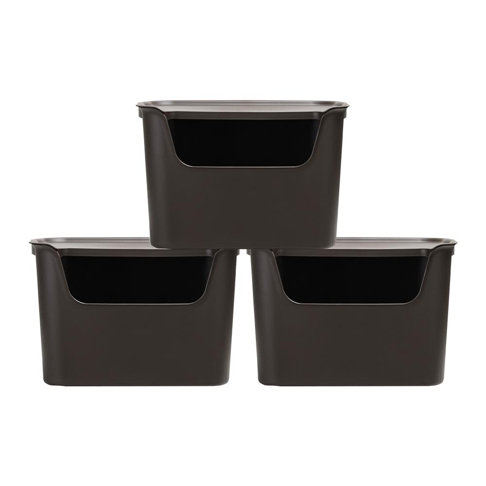 오하임 사이다 컬러 수납박스 대형, 초코브라운, 3개입