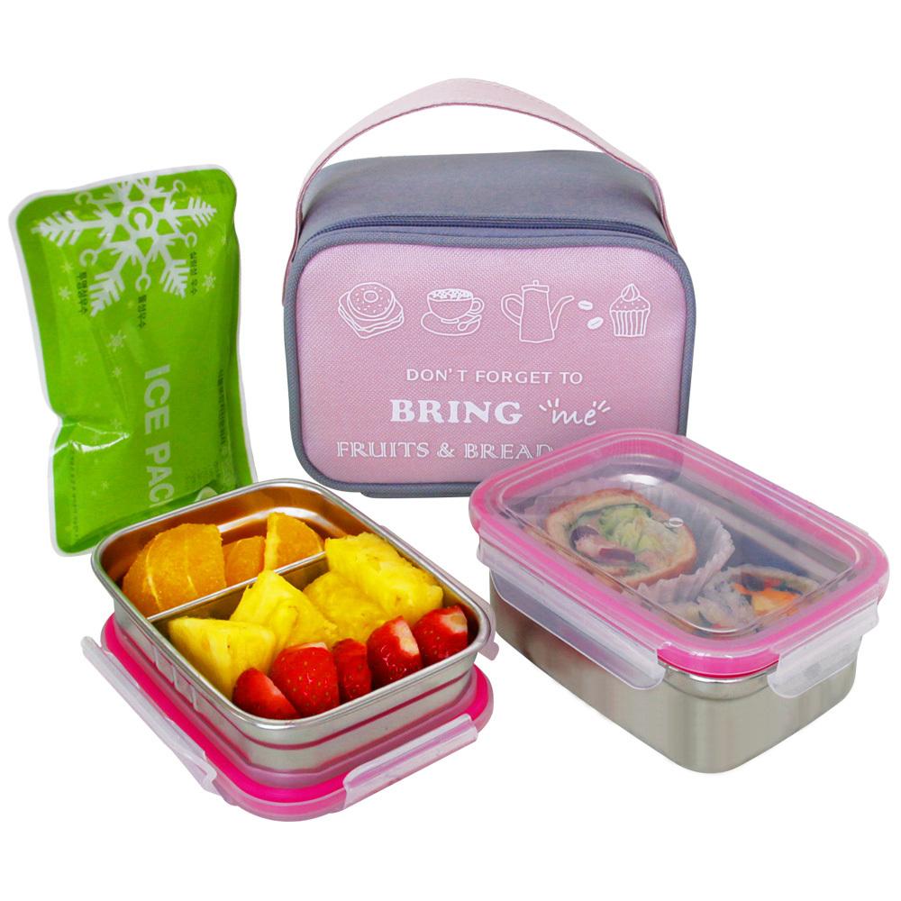 브링미 스텐도시락 2단 세트 + 가방 + 아이스팩, 1세트, 핑크