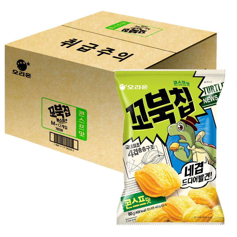 오리온 꼬북칩 콘스프맛, 80g, 12개
