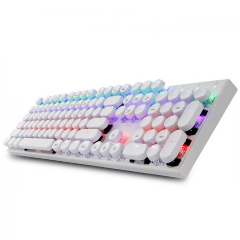 앱코 조약돌 레트로 키캡 축교환 레인보우 LED 게이밍 기계식 유선 키보드 적축, K840, 화이트