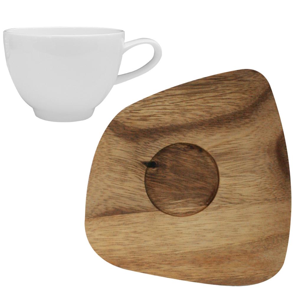 린넨화이트 아카시아 사각 우드 소서 + 화이트 티컵, 혼합 색상, 1세트
