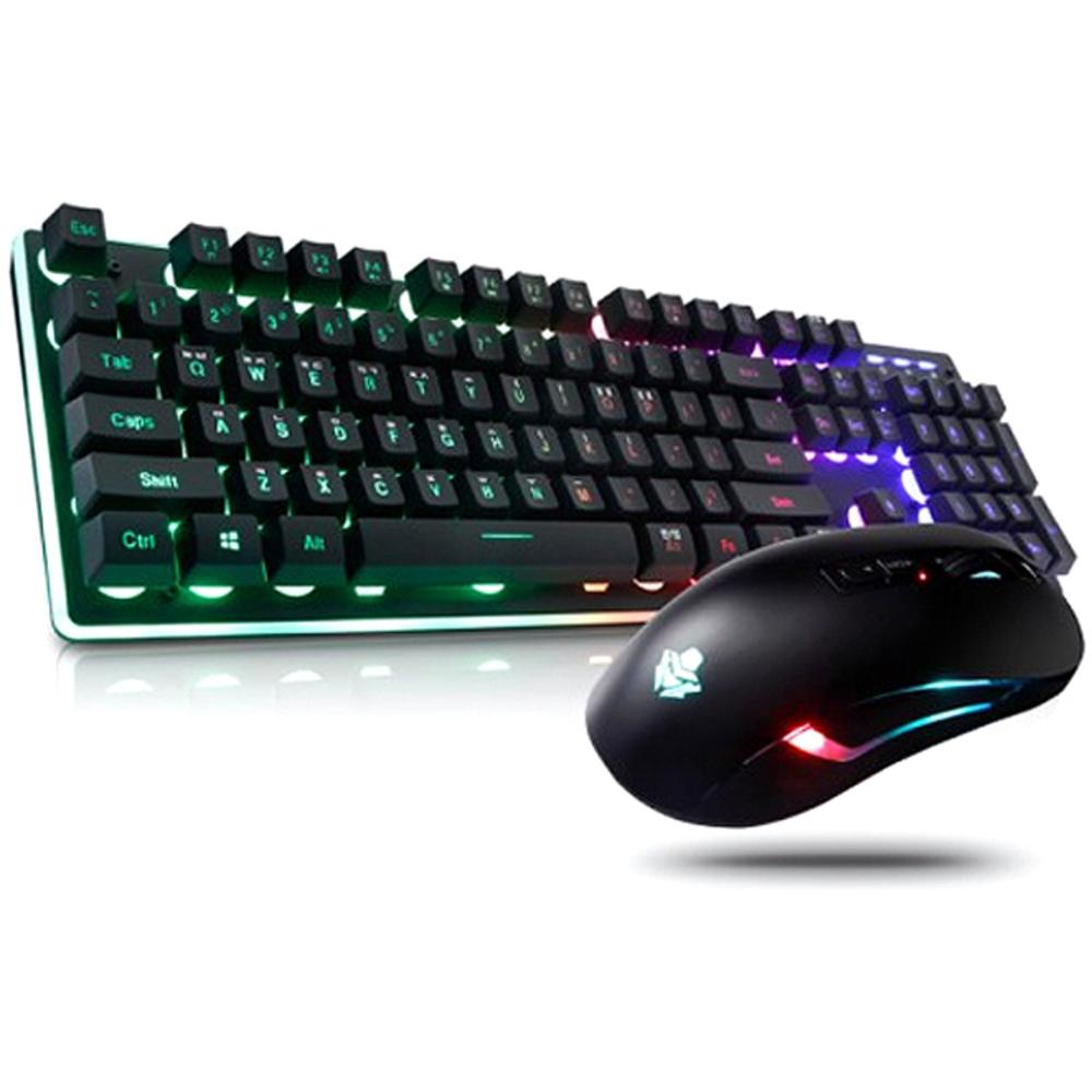 앱코 HACKER 레인보우 LED 게이밍 키보드 + 마우스 세트 KM400, 혼합 색상