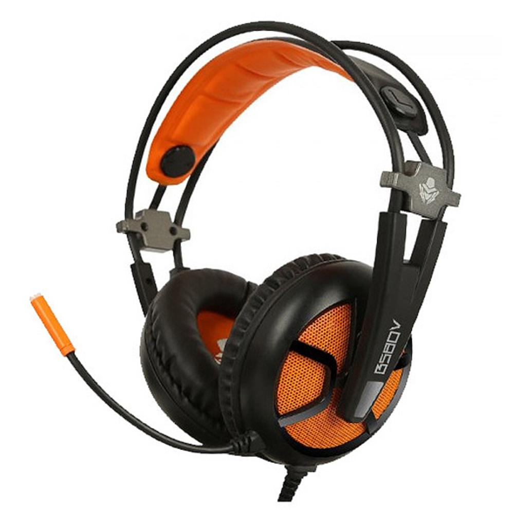 앱코 HACKER 스테레오 게이밍 헤드셋 B580V, 블랙 + 오렌지
