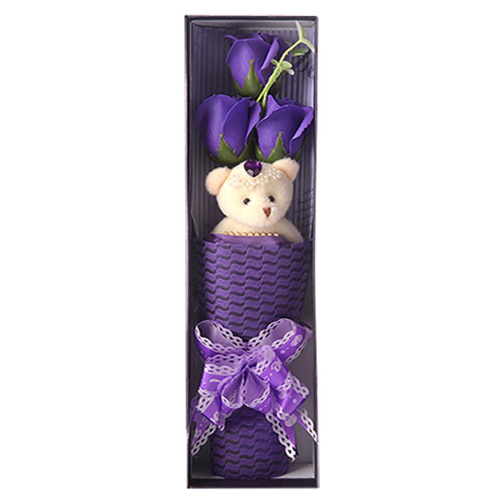 푸른숲 비누장미2 꽃다발 + 곰인형, 보라