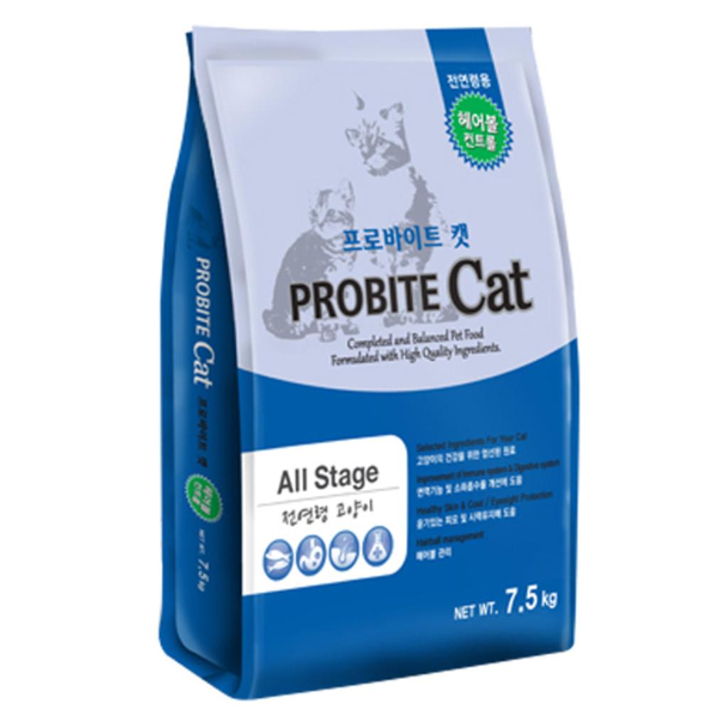 프로바이트캣 고양이사료 전연령용 헤어볼 컨트롤, 7.5kg, 1개