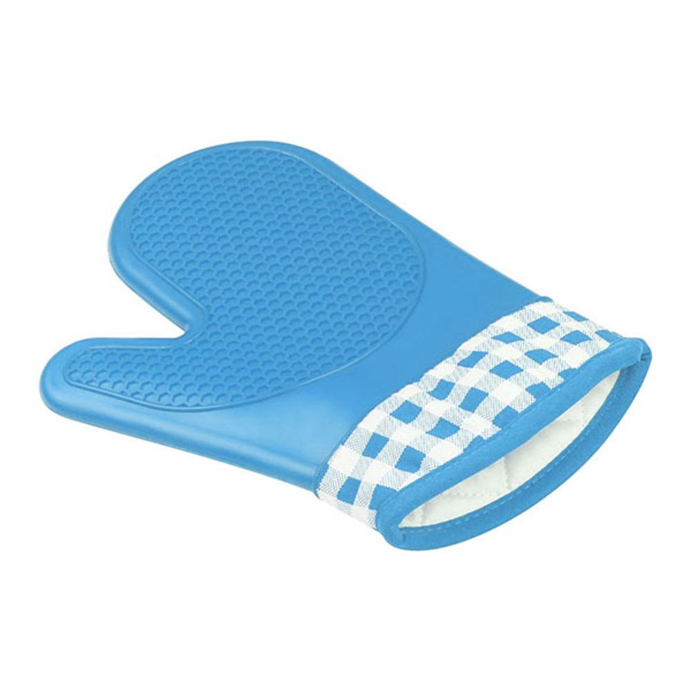라이프포인트 실리콘 체크 주방장갑, 블루, 1개