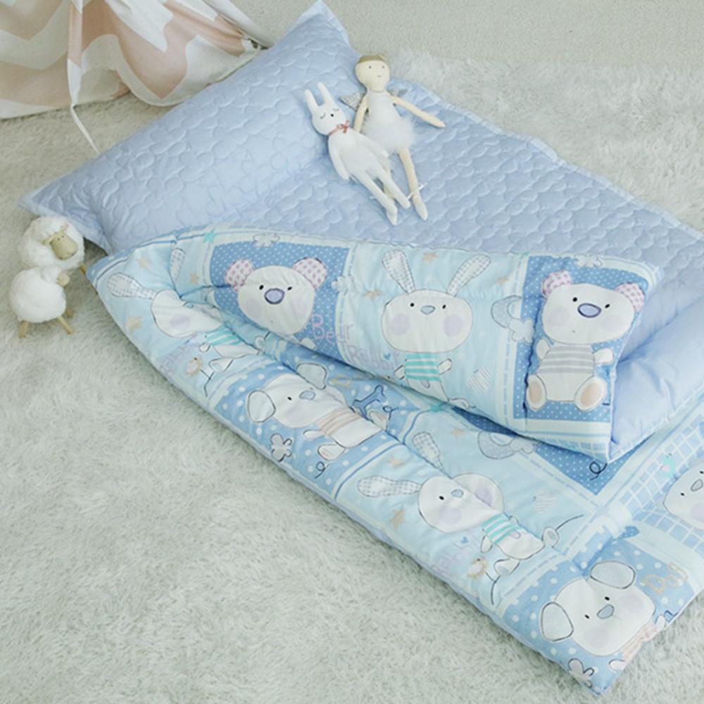 이지베이비 유아용 트윙클 래빗 분리형 낮잠이불 + 패드 + 일반 베개솜, 블루