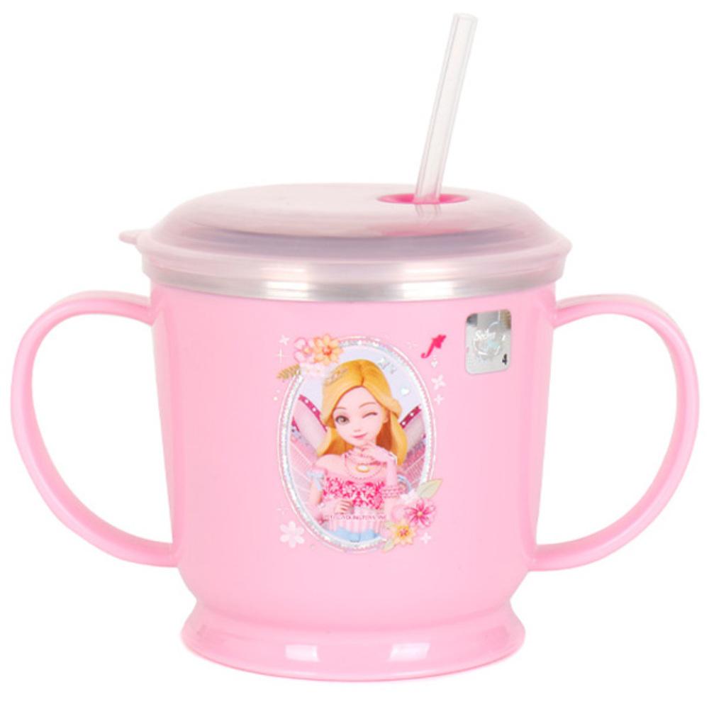 시크릿쥬쥬 흘림방지 스텐 양수 빨대컵 SJK-K0045 250ml, 핑크, 1개