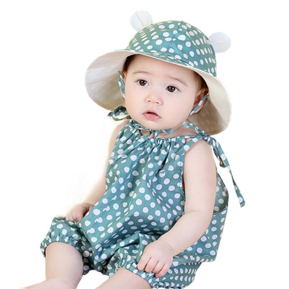 조이멀티 유아용 날개도트 썸머 롬퍼 + 모자세트