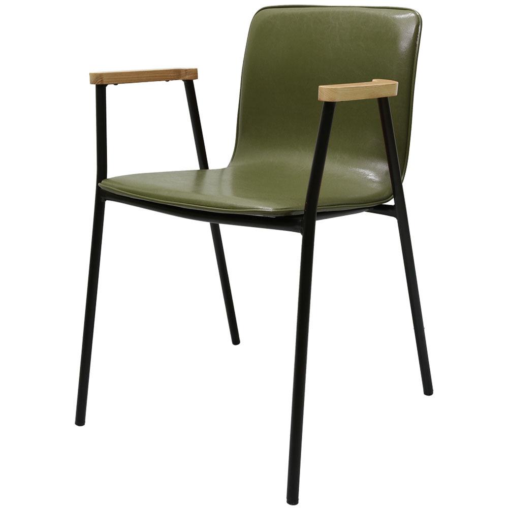 가구느낌 심플 팔걸이 의자, 카키