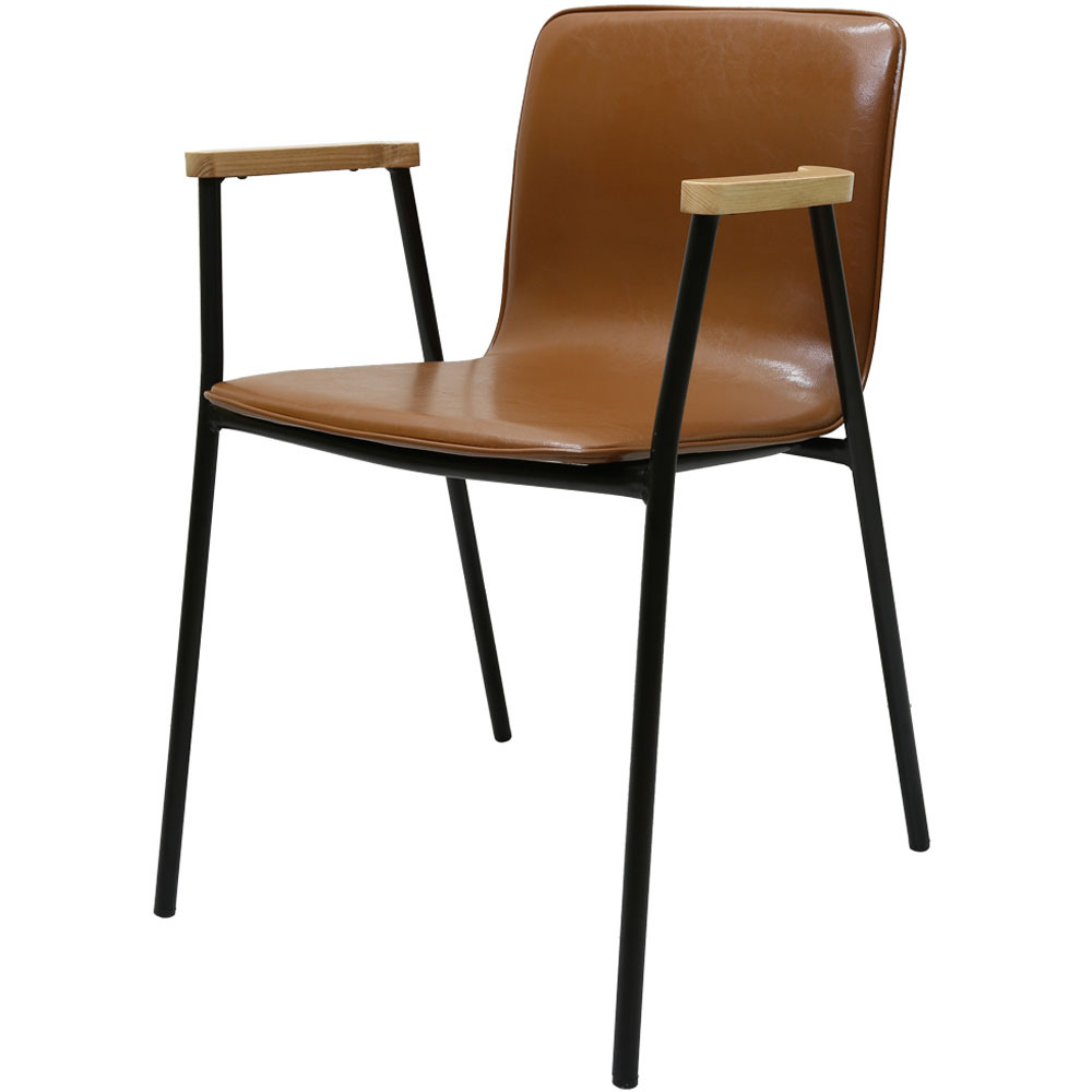 가구느낌 심플 팔걸이 의자, 라이트브라운
