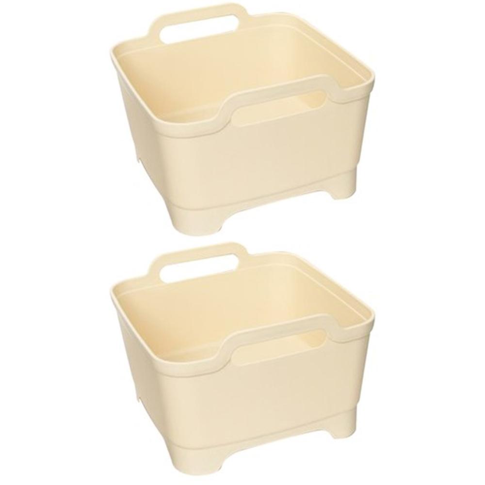 블럭마트 주방 다용도 물빠짐 사각 설거지통, 파스텔 아이보리, 2개입