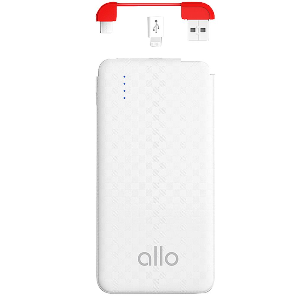 알로(allo) 카드형 초슬림 케이블 일체형 보조배터리 5000mAh allo007, 단일색상