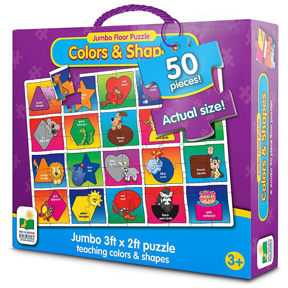 러닝저니 점보 퍼즐 색깔 모양, 50피스, 혼합 색상