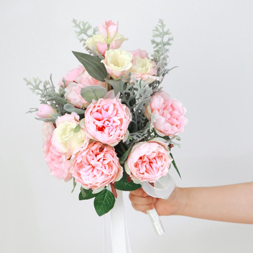 더플라워마켓 에덴로즈 리시안 웨딩부케 조화, 핑크