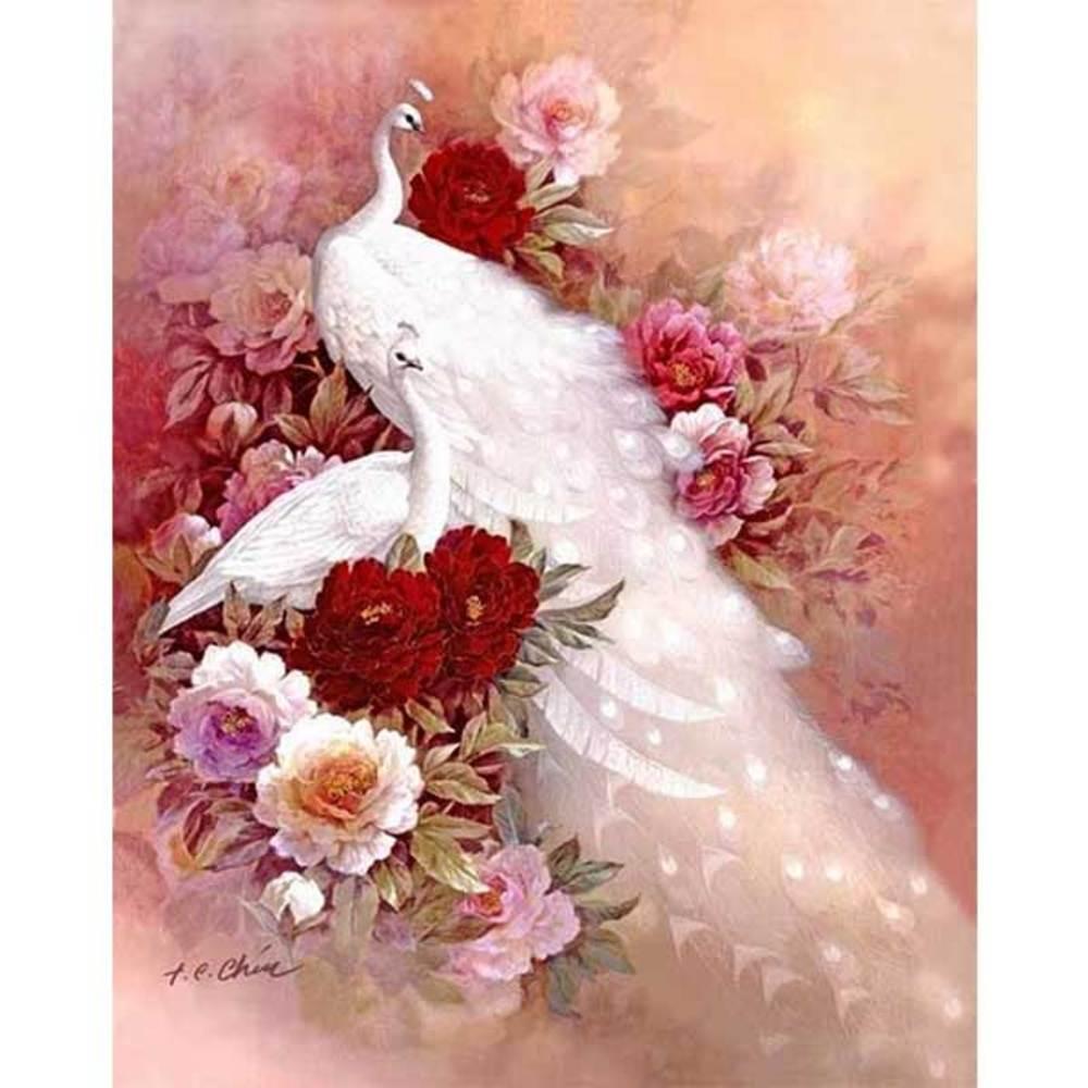 케이엠엘리 3D 우아한백공작새 보석십자수 DIY 55 x 70 cm, 혼합 색상, 1세트