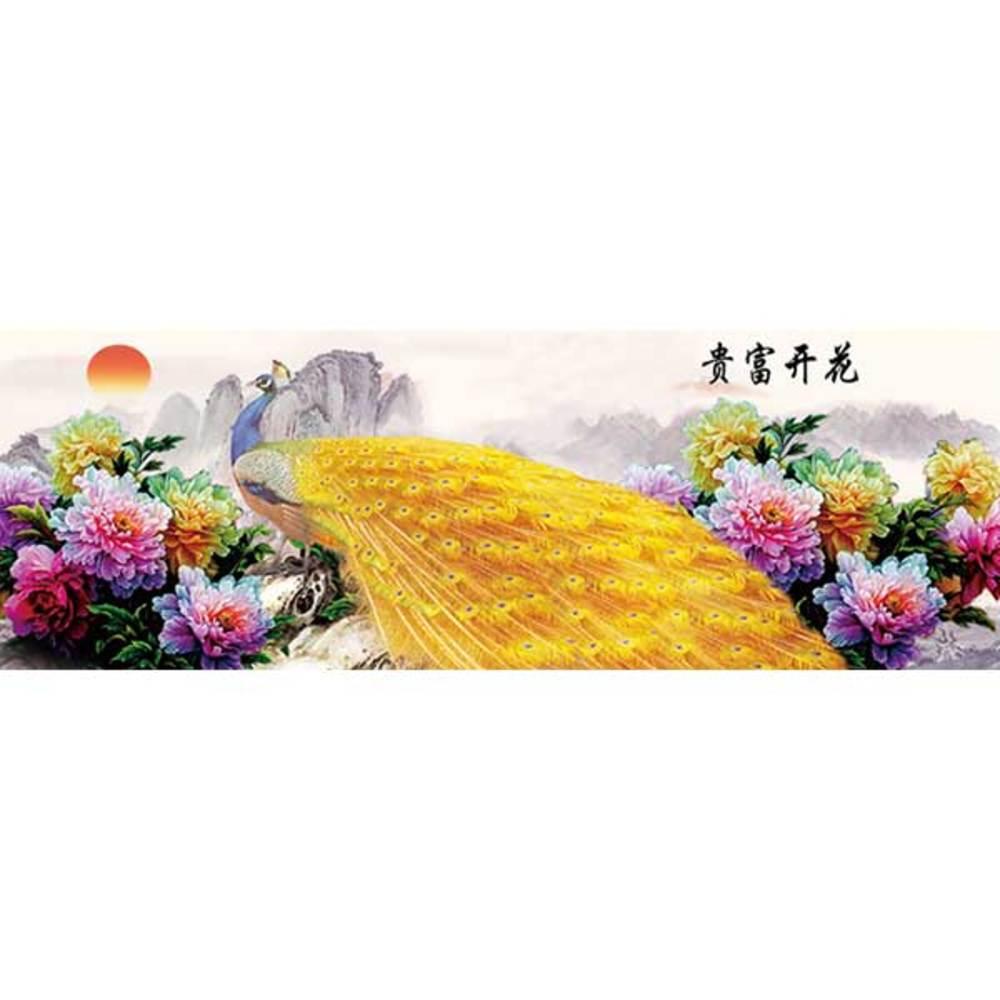 케이엠엘리 3D 부귀의꽃공작새 보석십자수 DIY 120 x 40 cm, 혼합 색상, 1세트