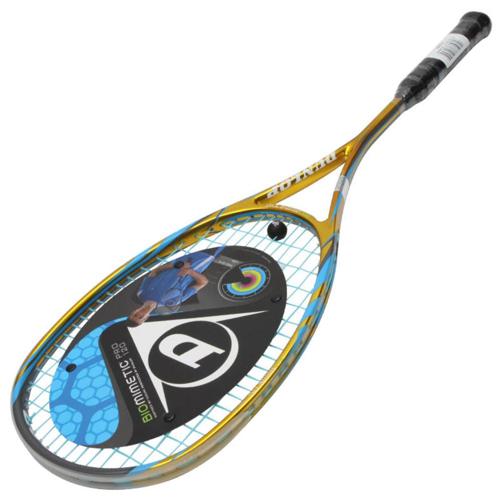 던롭 바이오미메틱 프로 120 스쿼시라켓, 골드 + 블루 + 블랙