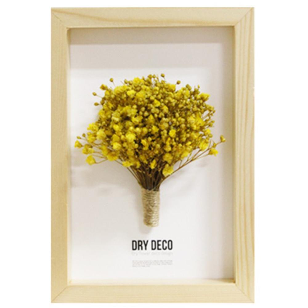 드라이데코 안개꽃 프리저브드플라워 나무액자, 노랑