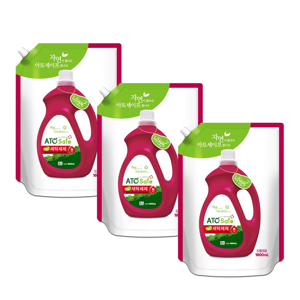 [아토세이프] 아토세이프 액체 세탁세제 리필형, 1.8L, 3개입 - 랭킹7위 (7180원)