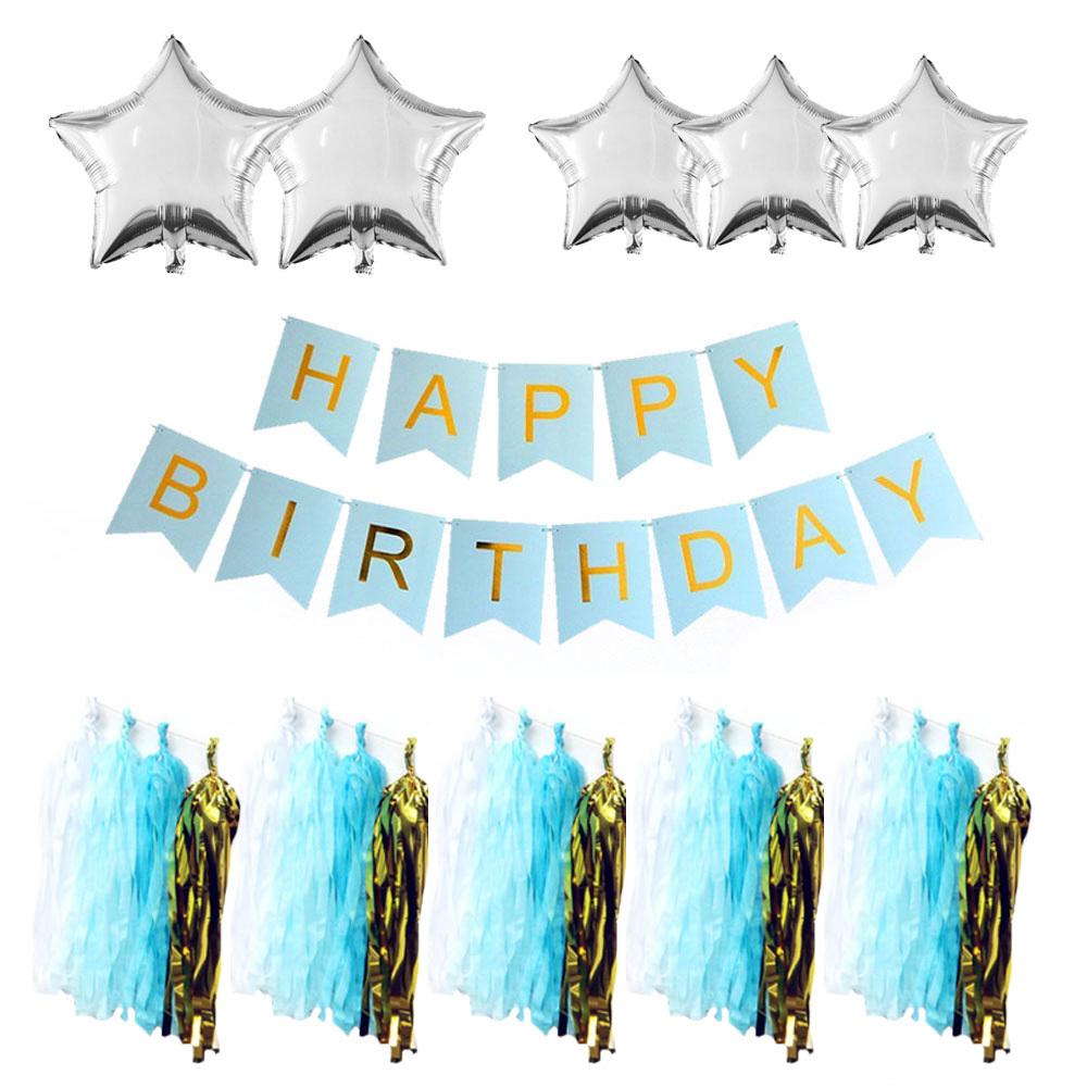 쓱싹 테슬 가랜드 생일 파티 세트, BLUE