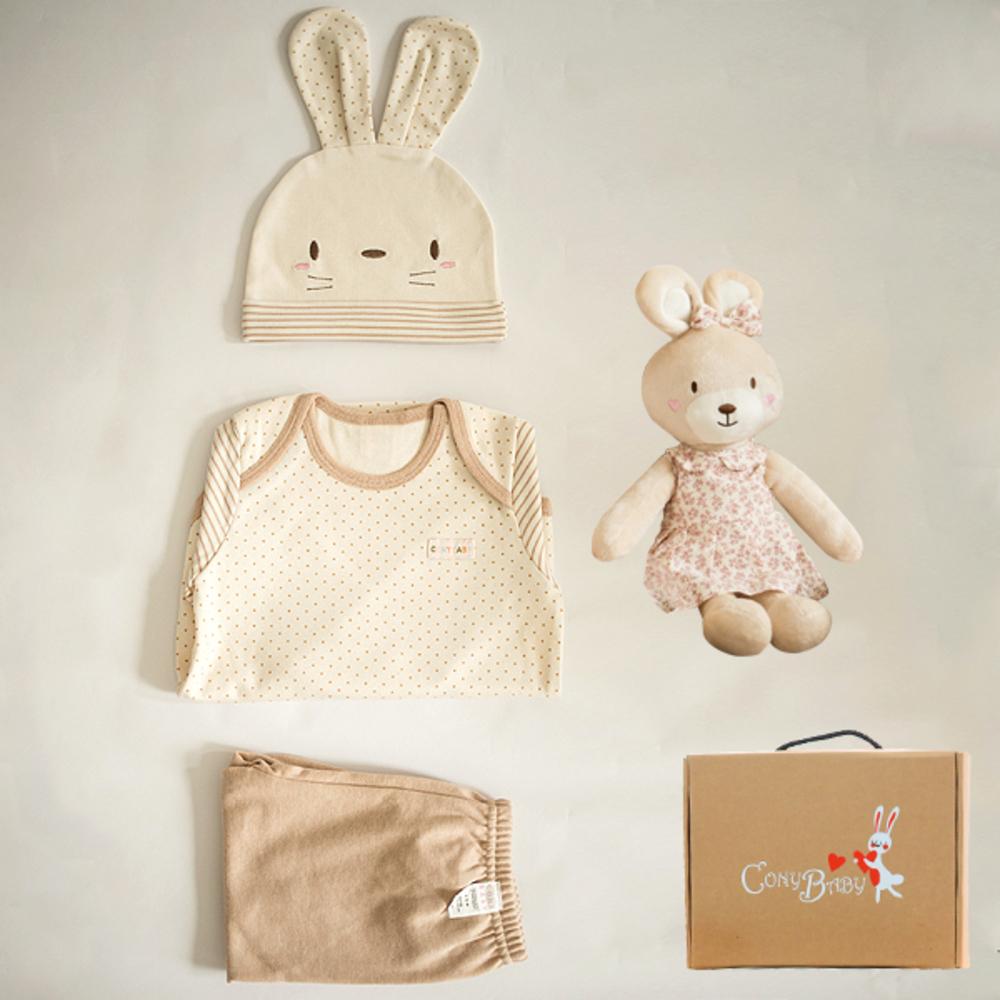 코니베이비 오가닉탄생 백일선물 토순이 옷3종 + 아기토끼베순이40 애착인형 + 상자