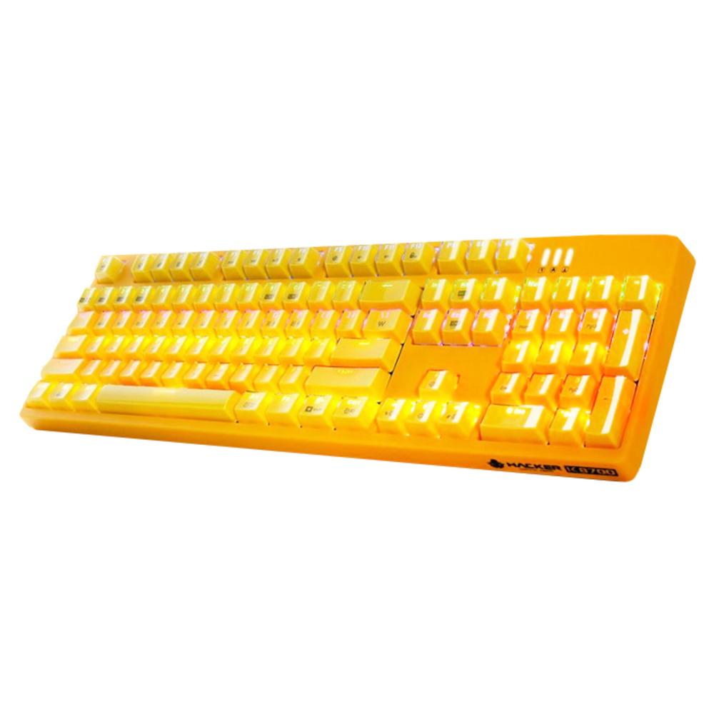 앱코 HACKER 카일 광축 완전방수 크리스탈 키캡 키보드 K8700, 옐로우(바디), 옐로우(키캡)