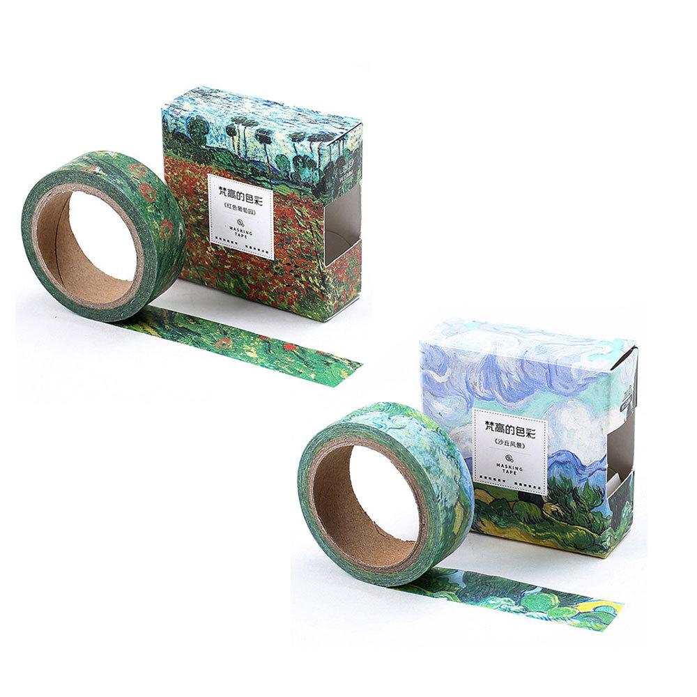 라이프포인트 반 고흐 마스킹 테이프 양귀비 들판 + 벽 너머로 본 산 풍경, 혼합 색상, 1세트