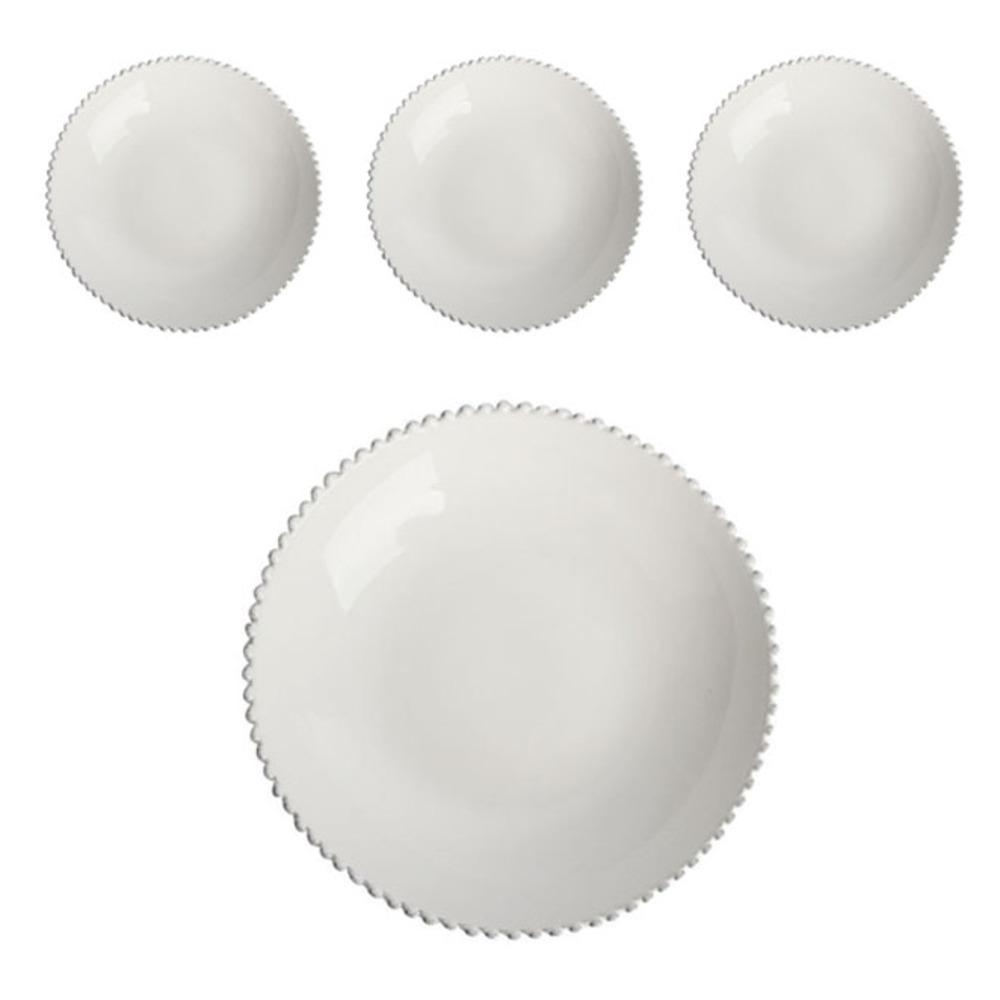 코스타노바 화이트펄 24cm 파스타 접시, 화이트, 4개입