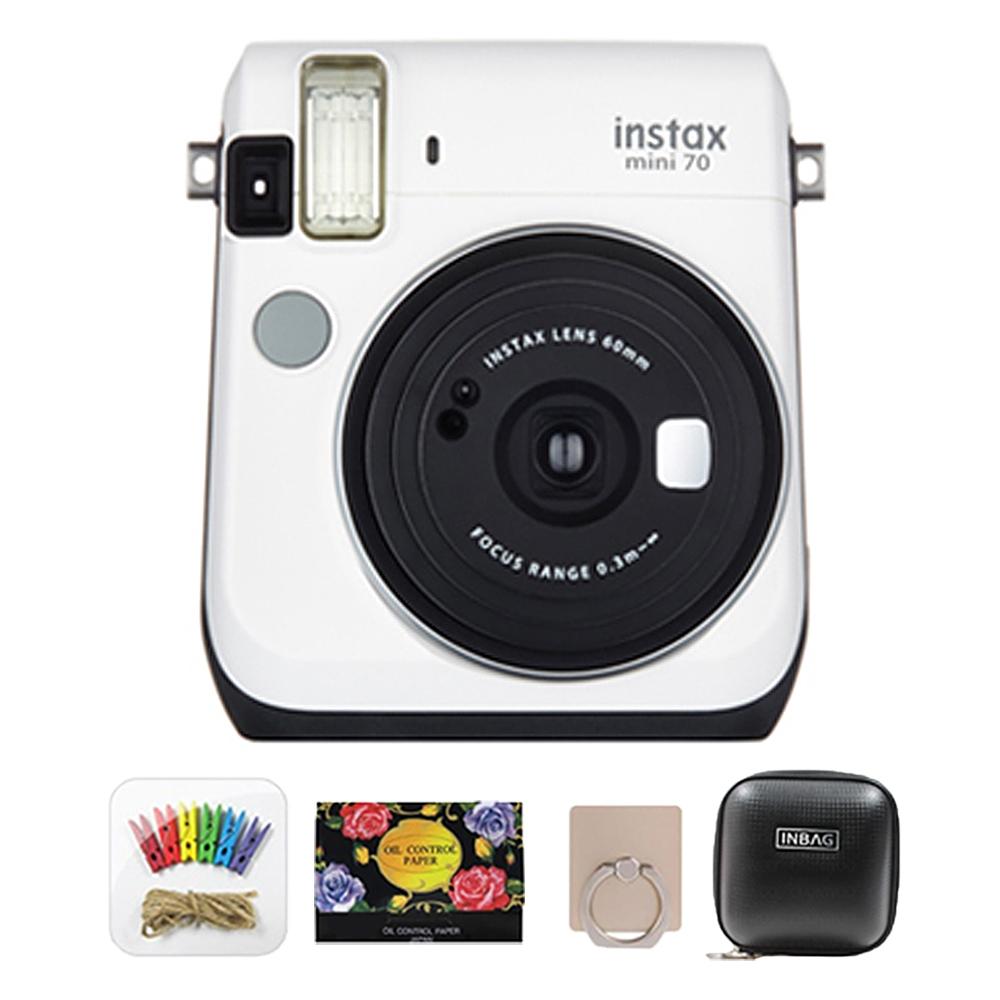 인스탁스 미니70 즉석카메라 알뜰 구성 세트, 카메라(화이트) + 포토라인 + 기름종이 + 스마트링 + 햄버거 케이스 랜덤발송, 1세트