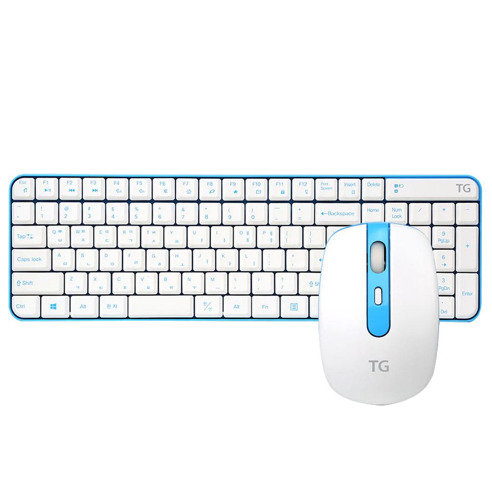 TG삼보 무소음 무선 키보드 + 마우스 세트 TG-DISCOVERY 5000GS, 블루 + 화이트