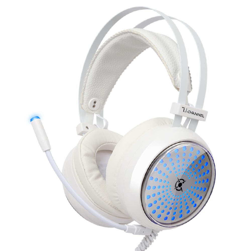 COX 일루젼 7.1 블루 LED 게이밍 헤드셋 CH30, 화이트