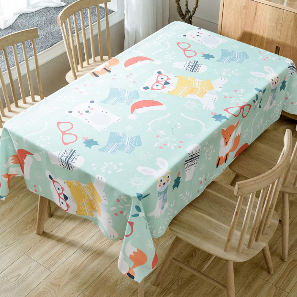 이코디 크리스마스 패턴 테이블 보, 애니멀즈, 150 x 210 cm