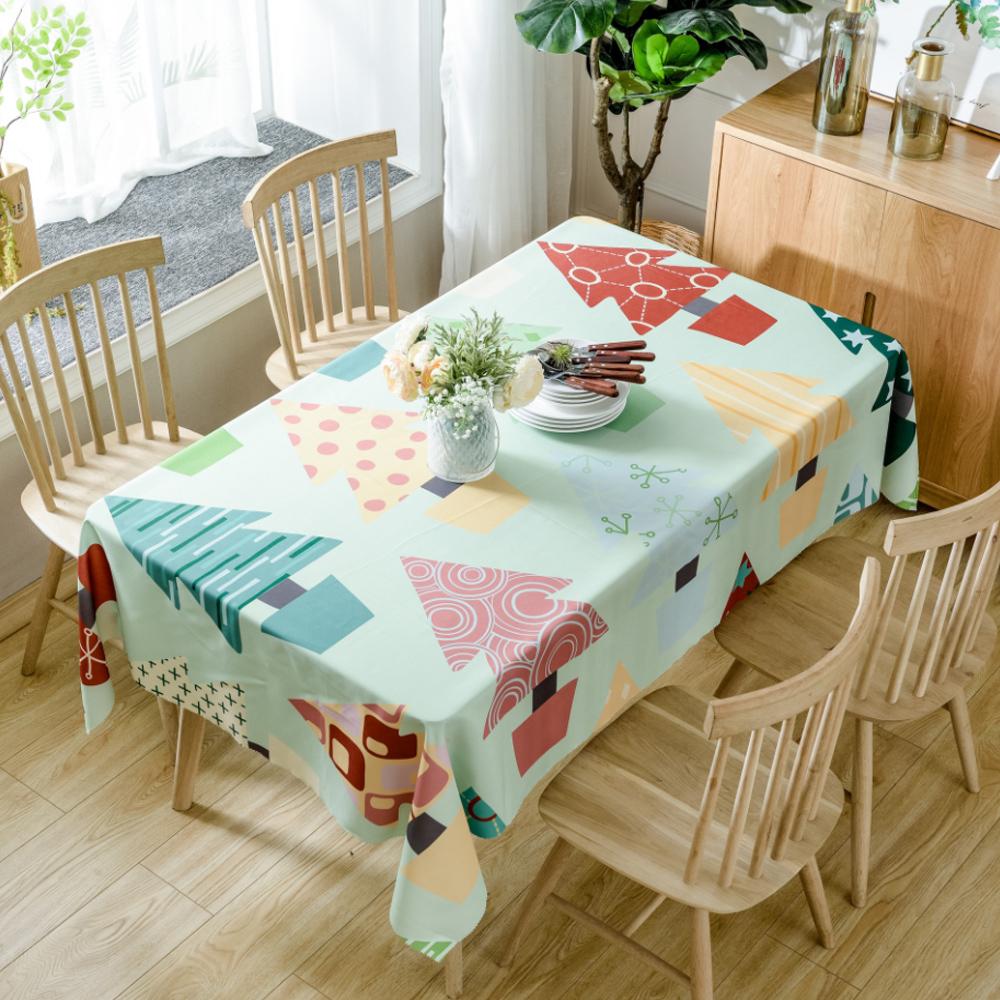 이코디 크리스마스 패턴 테이블 보, 트리패턴, 150 x 260 cm