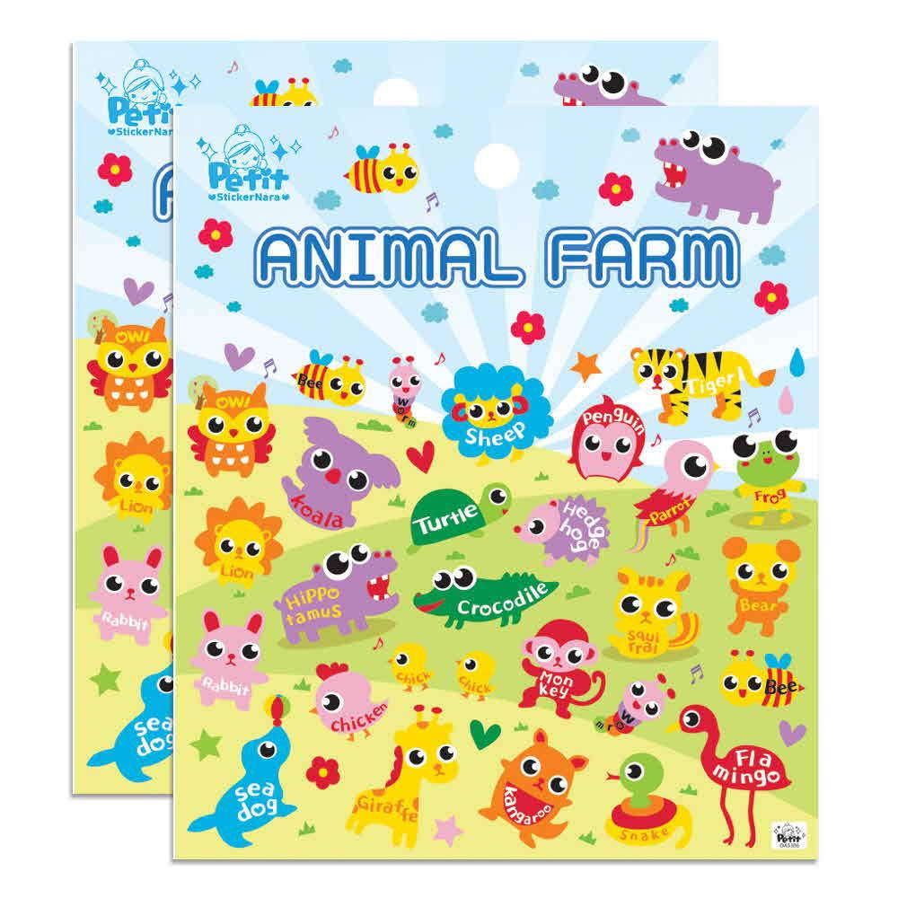 쁘띠팬시 animal farm 팬시스티커 혼합 색상 2개입