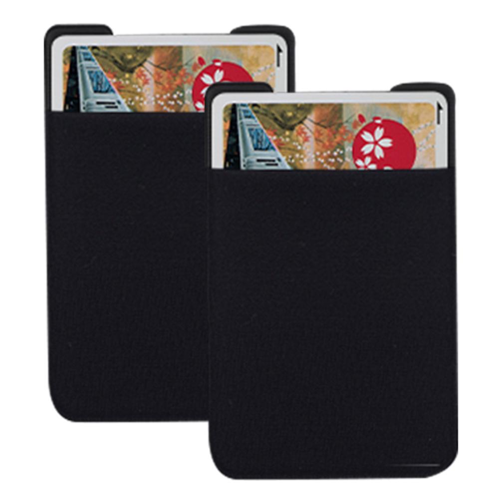 신지모루 파스텔 파우치 접착식 카드 케이스, Black, 2개입