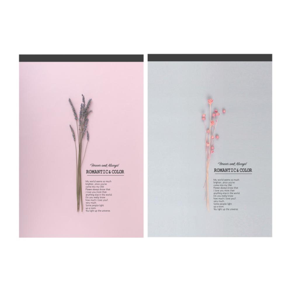 톡톡팬시 로맨틱 컬러패드 편지지 2종, 핑크, 그레이, 1세트