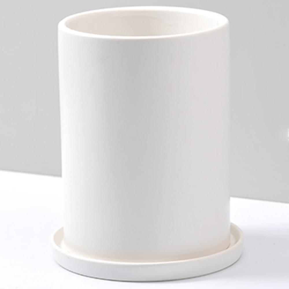행복한세상 무광택 원형 화분 + 화분받침 세트, 화이트