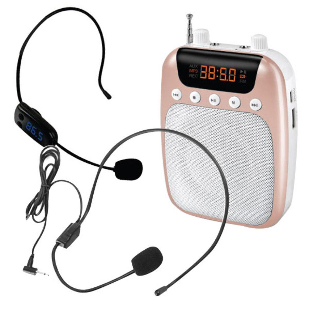 컴스 FM 휴대용 유무선 마이크 앰프 WW327 + 무선 마이크 + 유선 마이크