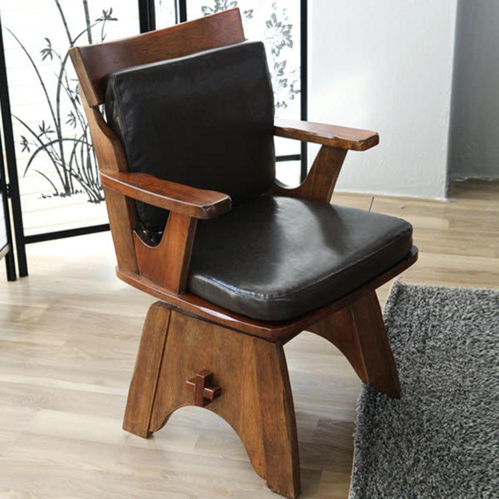 베스트리빙 쉐라톤 원목 회전 의자, 블랙 + 엔틱