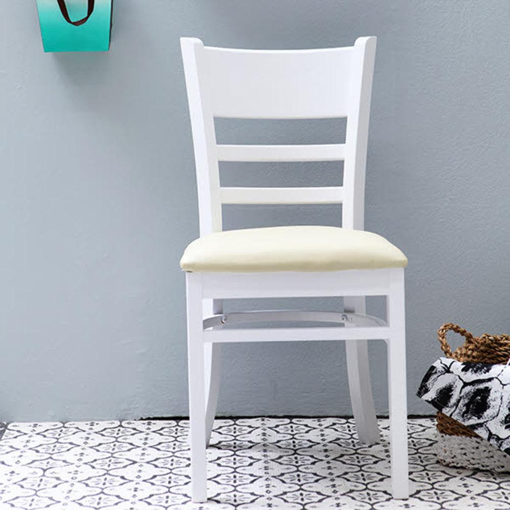 베스트리빙 캘빈 원목 의자 2p, 화이트 + 베이지